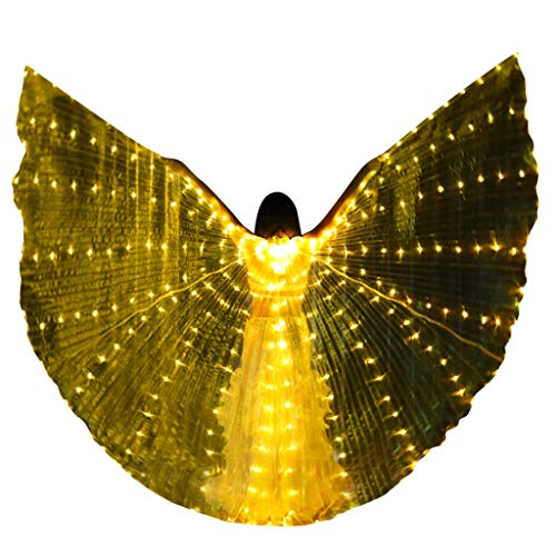Women's Egyptian Belly Dance Costume LED Isis Angel Bifurcate Butterfly Wings Glow Light Up Belly with Flexible Sticks (Free, Yellow) -