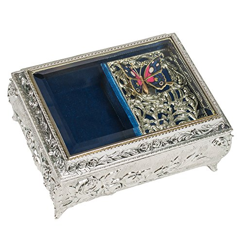 Butterfly Wings Silver Metal Musical Jewelry Box Plays Vivaldi Spring by Splendid Music Box Co.