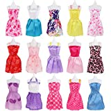 SOTOGO 106 Pcs Doll Clothes Set for Barbie Dolls Include 15 Pack Clothes Party Grown Outfits and Randomly 90 Pcs Different Doll Accessories for Little Girl