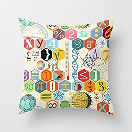 Pillow Cases Baby Products O10L Math in color Colorful Decoration Pillow Case Cushion Cover 18 inch