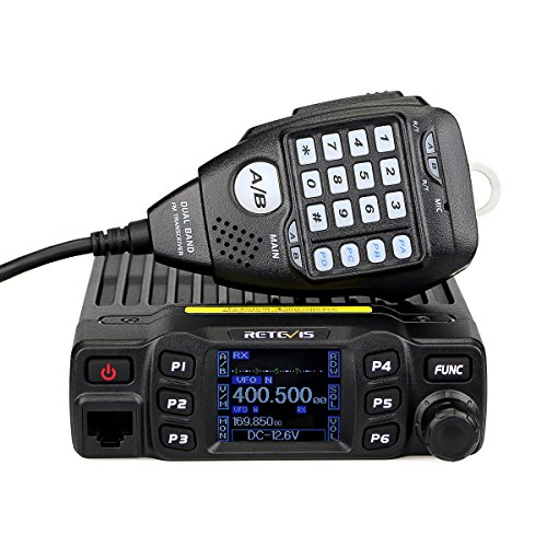 Retevis RT95 Mobile Radio Dual Band Transceiver VHF 136-174/ UHF430-490 MHz 25W Color LCD Mobile Two Way Radio with DTMF Function (Black