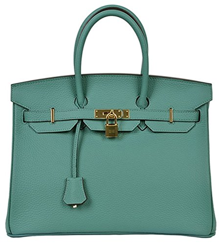 Classic Genuine Handbags Tote Women's Leather Aqua Padlock Cd5qdw0