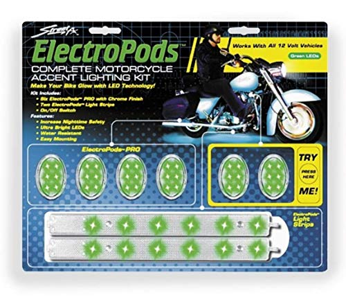 Street FX 1042462 ElectroPods Green/Chrome Motorcycle Oval Pod Lighting Kit
