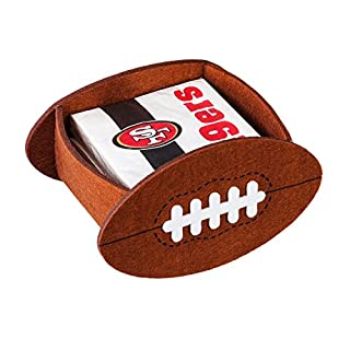 Team Sports America San Francisco 49ers 50-Count Team Logo Cocktail Napkin with Felt Icon Napkin Holder Gift Set