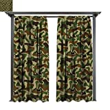 exterior color schemes Exterior/Outside Curtains, Squad Uniform Design with Vivid Color Scheme Hunting Camouflage Pattern, for Patio Water Proof Drape (W96 x L84 Inches Green Brown Khaki)