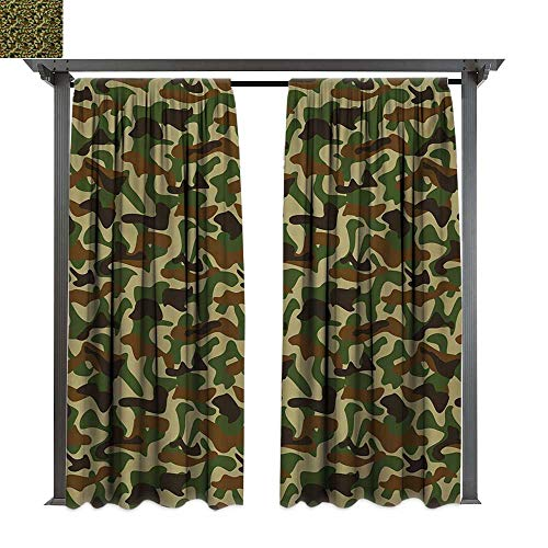 Exterior/Outside Curtains, Squad Uniform Design with Vivid Color Scheme Hunting Camouflage Pattern, for Patio Water Proof Drape (W96 x L84 Inches Green Brown Khaki)