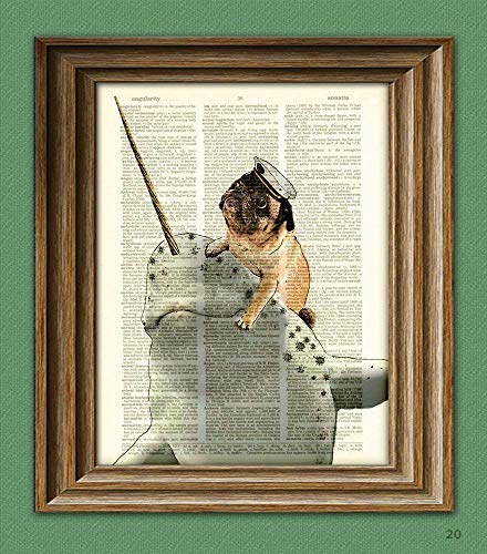 (Captain Grumble the Sea Pug Riding His Narwhal Steed, Noodles Art Print Beautifully Upcycled Dictionary Page book Art Print Pug On a Narwhal)