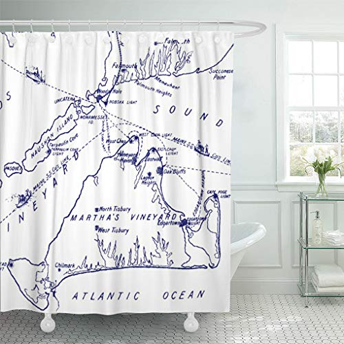 (Semtomn Shower Curtain Weddings Martha Vineyard Vintage Map Navy Blue Preppy Engagement 66