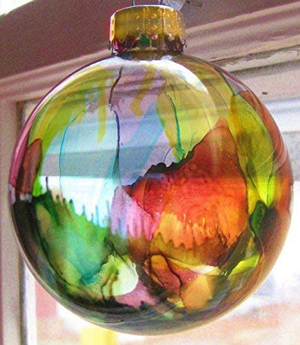 Christmas Ornament Alcohol Ink Stained Glass Globe Rainbow Color Handmade. Gold cap.