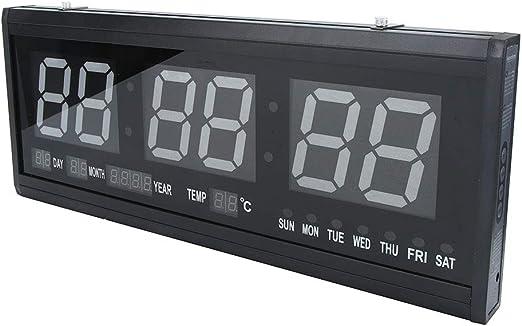 Reloj de Pared Digital, Alarma de Pared LED Reloj Digital Pantalla Grande Reloj eléctrico Colgante con Humedad de Temperatura de Fecha para Oficina en casa: Amazon.es: Hogar