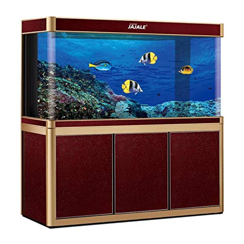 JAJALE 200 Gallon Aquarium Fish Tank LED Light Pump Freshwater Filter Upright Fishtank Stand Bundle Curved Clear Glass (Red Wine)