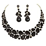 Modbridal Crystal Teardrops Necklace and Earrings Jewelry Sets for Women Evening Party Dress(Black)