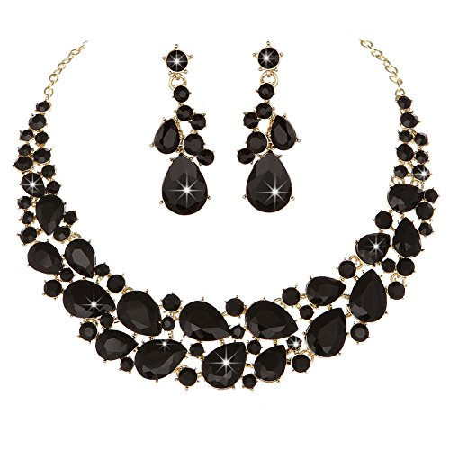 (Modbridal Crystal Teardrops Necklace and Earrings Jewelry Sets for Women Evening Party Dress(Black))