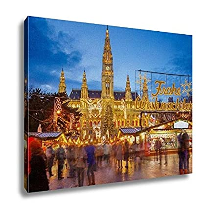 ashley canvas rathaus and christmas market in vienna austria translation merry christmas 24x30