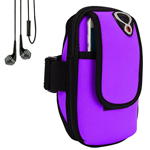 Sweatproof Purple Neoprene Fitness Pouch Armband with In-Ear