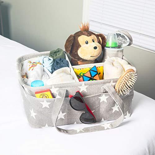Compass Portable Infant Car Seat - Large Baby Diaper Caddy Organizer | Registries Baby Shower | Boy Girl Diaper Storage Bin | Newborn Registry | Nursery Must Have Gift
