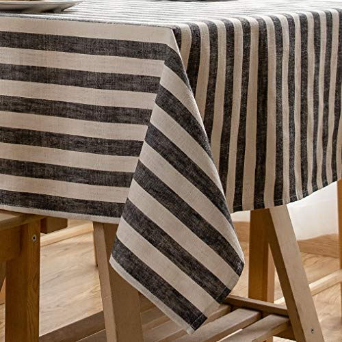 (Aquazolax Black and White Stripe Table Cloth for Rectangle and Oblong End Table Premium Cotton Linen Fabric Table Covers, 54 x 72 inch, Black)