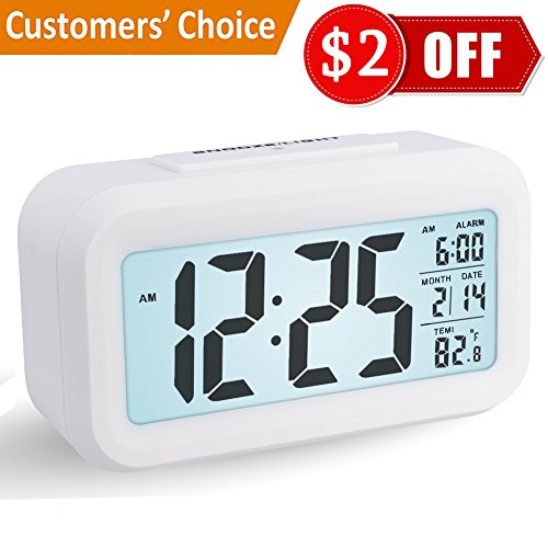 Alarm Clock, Arespark Digital Travel Alarm Clock Battery Operated Electronic Bold Number Morning Clock for Home office Kids Heavy Sleepers (Snooze Function, Temperature Display, Smart Backlight) - White