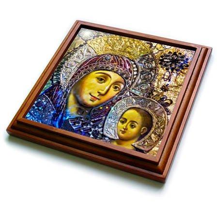 (3dRose Danita Delimont - Religion - Mary and Jesus Icon, Church of the Nativity, Bethlehem, Palestine. - 8x8 Trivet with 6x6 ceramic tile (trv_276863_1))
