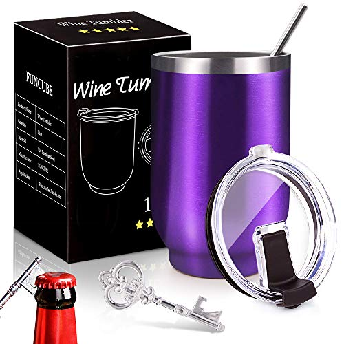 Spill Proof Wine Tumbler with Lid and Straw,16 oz Stainless Steel Double Wall Vacuum Insulated Stemless Travel Tumblers,Bonus Key Bottle Opener,Perfect Gift for Mom Dad Lovers Friends (Grape Purple)