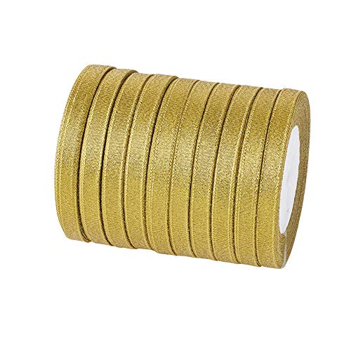 Fashewelry 10 Rolls Double Sided Glitter Sparkle Organza Ribbon 5/8