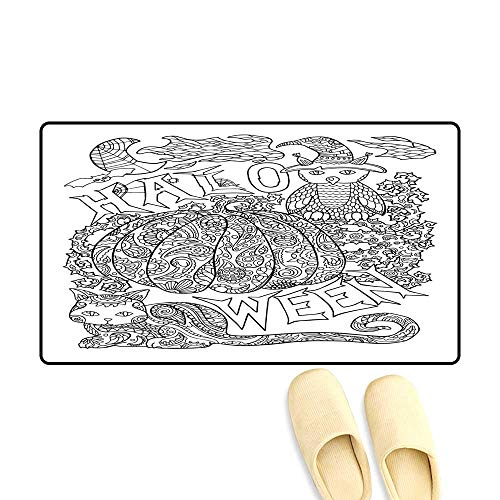 doormatHalloween Coloring Page with Pumpkin Halloween Vector Illustration with owl cat Spider Outdoor Doormat 50x80cm
