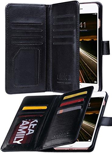 iPhone 8 Plus Wallet Case, iPhone 7 Plus Case, ULAK PU Leather iPhone 7 Plus/8 Plus Wallet Case with Credit Card Slots Magnetic Closure Cover for Apple iPhone 7 Plus/iPhone 8 Plus-Black