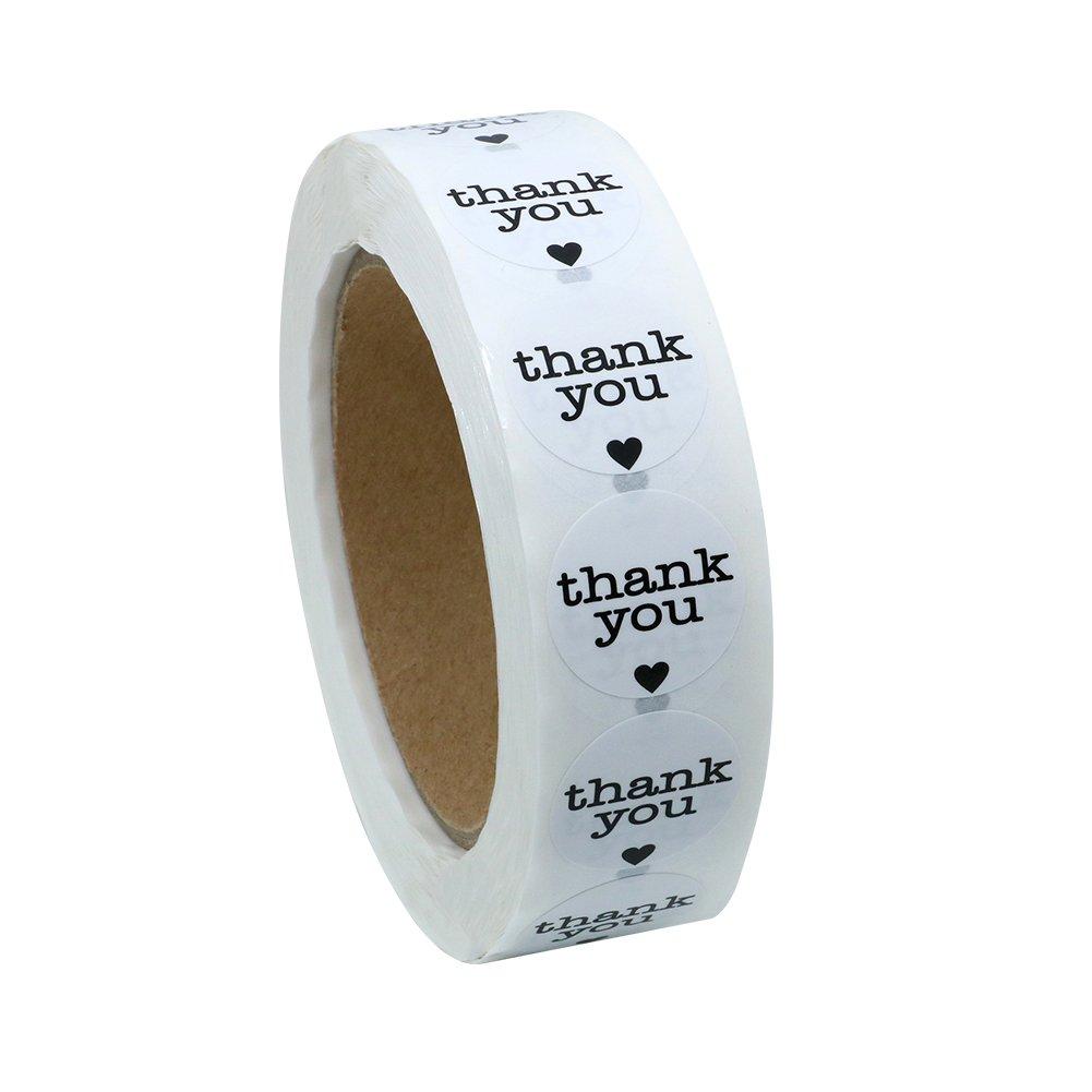 """Hybsk - Nastro a rotolo naturale con etichette adesive (1000 per rotolo), scritta """"Thank You"""", circolari, 2,5 cm 1 roll"""