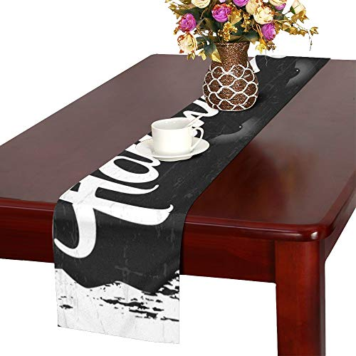 YUMOING Scary Retro Happy Halloween Stylish Table Runner, Kitchen Dining Table Runner 16 X 72 Inch for Dinner Parties, Events, Decor ()