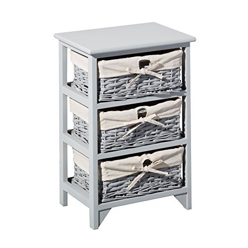 Gr8 Home Wooden Grey 3 Tier Drawers Storage Cabinet Rack Wicker Baskets Bedroom Furniture, Wood 43 x 31 x - Drawer Chest 3 Rattan
