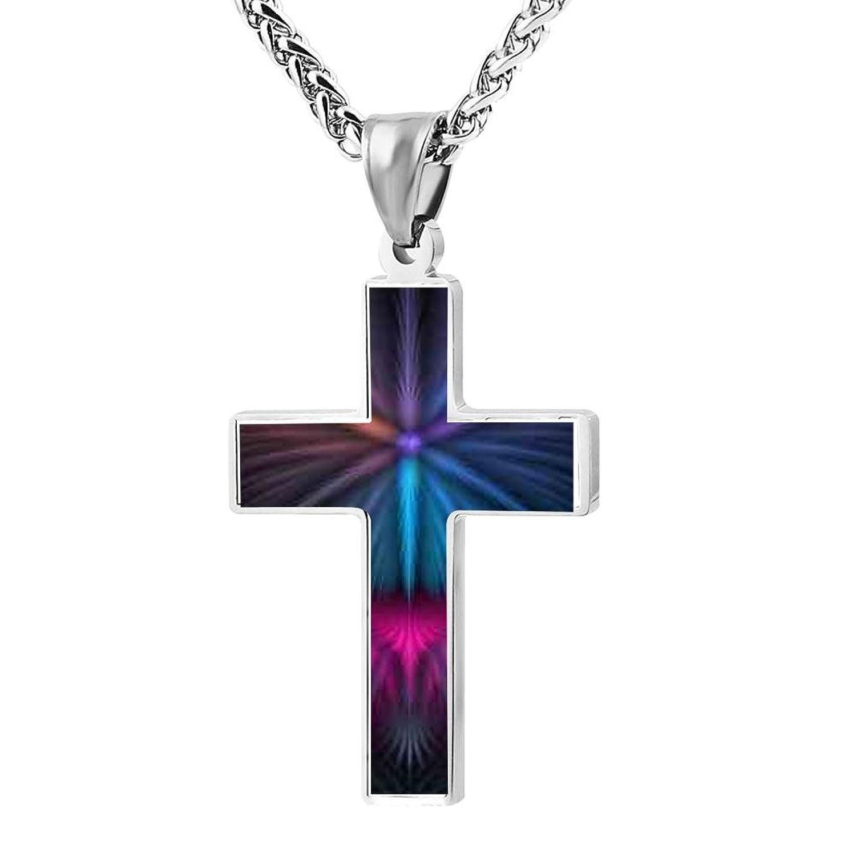 Cross Pendant Lights Colorful Flash Line Zinc Alloy Necklace Ornaments forMan