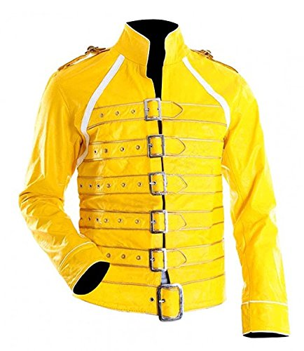 Freddie Mercury Costume Wembley - Freddie Mercury Wembley Faux Leather Yellow Jacket Costume