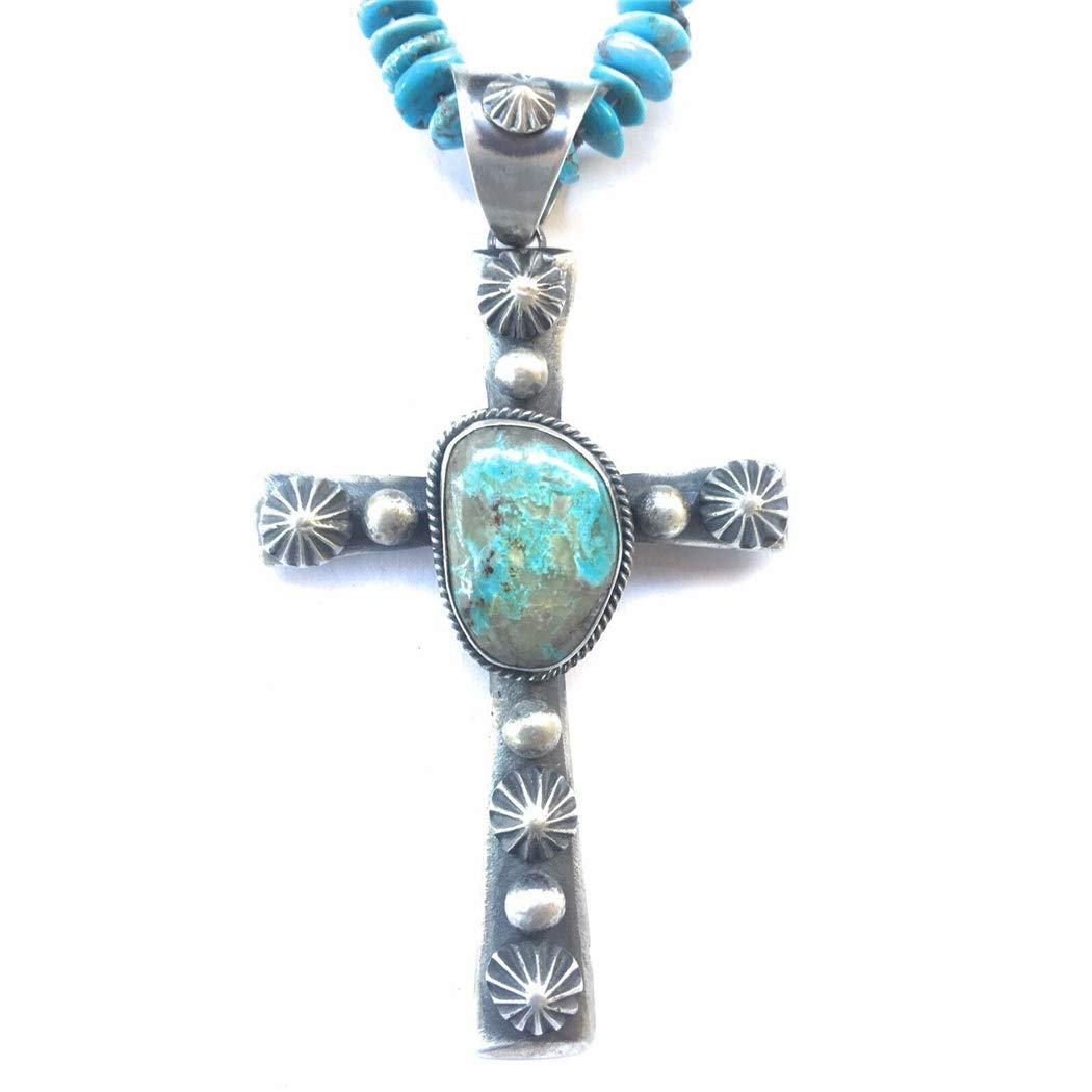 Nizhoni Traders LLC Navajo Sterling Silver Royston Turquoise Cross Pendant Signed by Chimney Butte