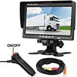 LeeKooLuu Rear View LCD Monitor 7 Display Car/Truck/Camper/Van/RV/Motorhome/Trailer Full Color Wide Screen Display Fixed on Dash/Windshield Backup Camera Rear View Systems