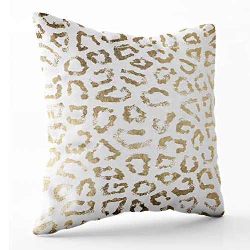 Shorping Zippered Pillow Covers Pillowcases 18X18 Inch simple modern white chic faux gold cheetah print Decorative Throw Pillow Cover ,Pillow Cases Cushion Cover for Home Sofa Bedding