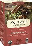 Numi Organic Tea Golden Chai, 18 Count Box of Tea Bags (Pack of 3) Black Tea