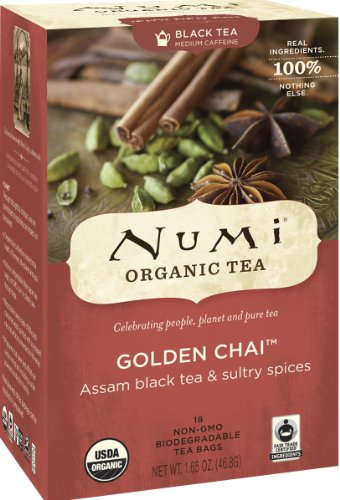 Numi Organic Tea Golden Chai, 18 Count Box of Tea Bags (Pack of 3) Black Tea
