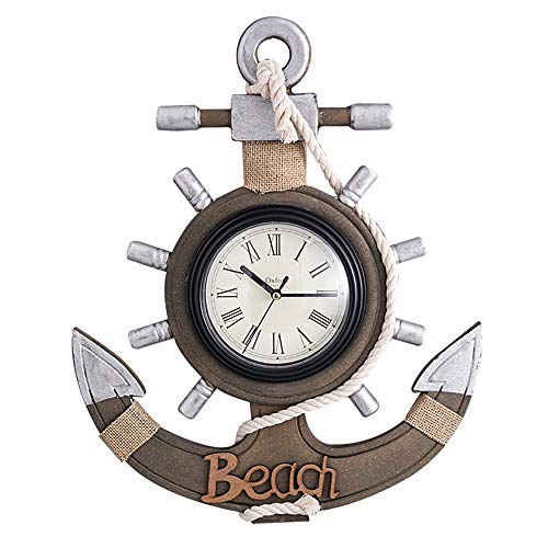 Door Decoration Entryway Decoration Retro Wall Clock, Mediterranean Style Handmade Wooden Wall Clock, Anchor Shaped Hanging Clock Wall Decoration Crafts (Color : A, Size : One Size)