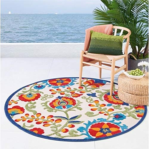 1 Piece 5'3 Blue Orange Teal Tropical Theme Round Rug, Indoor Outdoor Green Navy Beach Themed Circle Carpet Coastal Nautical Carpeting Flower Pattern Floral Motif Palm Tree Leafs Flowers Polypropylene