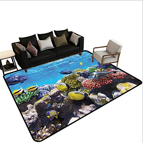 Custom Rug Ocean Decor Collection Tropical and Exotic Coral Reefs Fish School Natural Life in a Shallow Underwater Wild Marine Seascape Pattern Anti-Slip Doormat Footpad Machine Washable4'7 x6'6 -