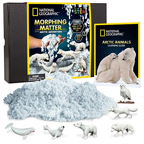 NATIONAL GEOGRAPHIC Arctic Morphing Matter - Play Set Comes with 3 Cups of Morphing Matter, 6 Arctic Animal Figures, Great Kinetic Sensory Activity for Boys & Girls
