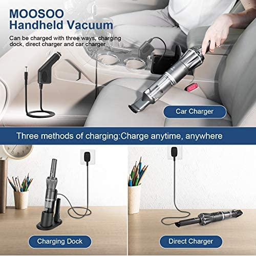 MOOSOO Pro Handheld Vacuum Cordless 12KPa, 1.1LB Lightweight Hand Vacuum Cleaner with Upgraded Brushless Motor & Single Touch Empty, Car Vacuum Cordless with Car Charger/Charging Dock