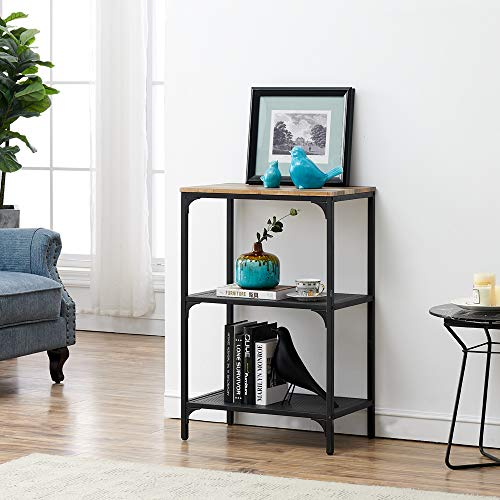 HOMYSHOPY 3-Tier Open Bookcase Furniture, Industrial Style Etagere Bookshelf for Home Office, Vintage Brown