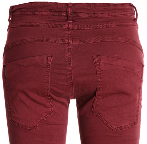 Basic.de - Pantalón - para mujer Weinrot (Modell 2) XS