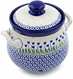 Polish Pottery 7¼-inch Garlic and Onion Jar made by Ceramika Artystyczna (Water Tulip Theme) + Certificate of Authenticity