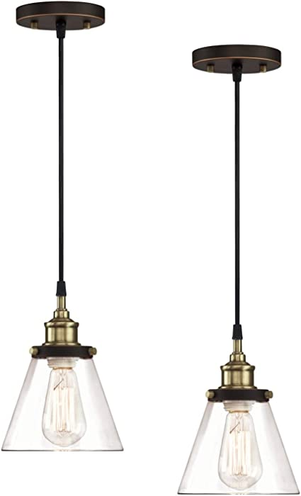 Amazon Com Wisbeam Pendant Lighting Fixture With Oil Rubbed Bronze And Brass Finish Hanging Ceiling Lights With E26 Medium Base Max 60 Watts Etl Rated Bulbs Not Included 2 Pack Home Improvement