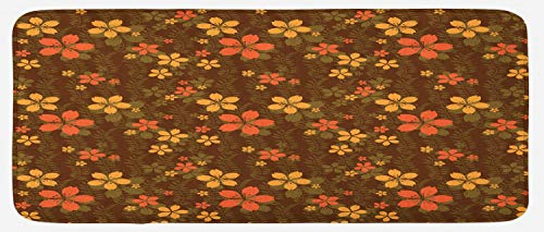 Ambesonne Chocolate Kitchen Mat, Wildflowers and Foliage on an Abstract Brown Background Ornate Blooming Nature, Plush Decorative Kithcen Mat with Non Slip Backing, 47
