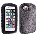 4.7 '' Winter Soft Warm Furry iPhone 6s Cover, Sammid Girl Luxury Bling Diamond Fuzzy Fur Case for iPhone 6/6s (iPhone 6/6s, Dark Grey)