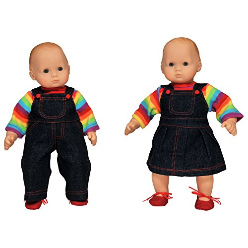 The Queen's Treasures Set of Two 15 Inch Doll Clothes for Bitty Twins Rainbow. Outfit Skirt & Overalls, 2 Shirt and 2 Pair Shoes. Fits American Girl Bitty Twins