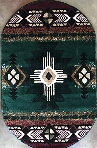 Concord Global Trading Southwest Native American Oval Area Rug Hunter Green Design #C318 (3fttx4ft7in.) (Concord Oval)